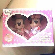 Mickey Minnie Mouse Disney Plush Doll set Wedding Pink Dress Stuffed Mascot JP