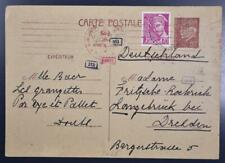 FRANCE to Nazi GERMANY 1941 Censored World War 2 Postal Card , Frankreich