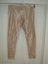 Lame (leather Look) SKINNY Legging Pull on Stretch Copper Size M