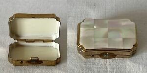 Vintage Single Compartment STRATTON Brass Pill Box With Mother of Pearl Lid