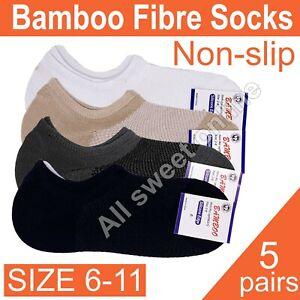 5 pairs Size 6-11 Men Women Bamboo Non-slip Extra Low Cut Socks Anti-bacteria