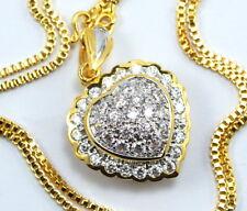 "Stunning Heart CZ Pendant + 22"" Chain 22K 24K Gold GP Thai Women's Jewelry GT9"