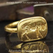 Bull Coin Ring Handmade Sterling Silver Design By Omer 24k Gold Vermeil Turkish