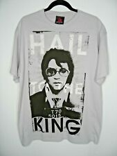 ZION ROOTSWEAR Elvis Presley Hail To The King Light Grey T Shirt Top Size Large