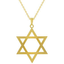 """18k Gold Plated Large Thin Star Of David Pendant Jewish Necklace 19"""""""