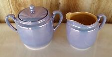 Vintage Hand Painted NORITAKE China Creamer & Sugar Blue Pearl Lustreware Peach