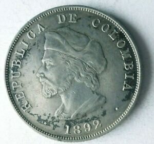 1892 COLOMBIA 50 CENTAVOS - AU - Low Mintage Silver Coin - Lot #O22