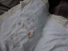 VINTAGE EMBROIDERED CROCHET TABLECLOTH