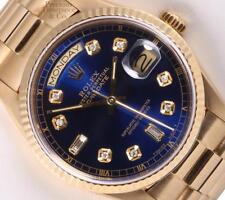 Rolex 18k Gold Day-Date 18038 President 36mm-Blue Diamond Dial-18k Fluted Bezel