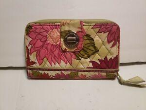 "Vera Bradley Turn Lock Clutch Wallet Fall Multi-Color Floral Abt 8"" x 5"" x 1"""