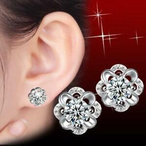 925 Silver Flower Earrings Fine AAA 755