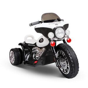 Rigo Kids Ride On Police Motorbike Motorcycle Electric Black & White