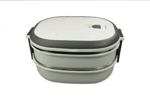 NAGO Lunchbox, Brotdose, Butterbrotdose, Frühstücksbox, Vesperdose, doppelt,weiß