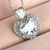 925 Sterling Silver Heart Crystal Necklace Women Jewellery Pendant Xmas Gift UK