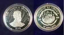 Liberia 2000 Large .999 Silver Proof $20-Civil War-General Meade