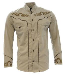 Men's Charro Shirt Camisa Charra El General Western Wear Color Khaki