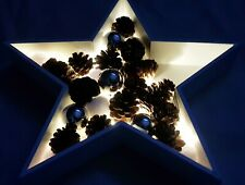 LED Stern Dekoleuchte Weihnachten AN- Ausschalter MDF Licht X-Mas Xmas 10 LEDs