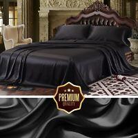 King Size Black Satin Sheet Set Super Soft Fitted Flat Sheet 2 Pillowcases Set