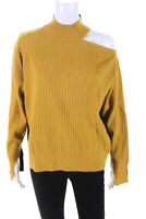 Rebel Collection Womens Color Block Mock Neck Sweater Yellow Blue Size Small