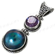 "1 5/8"" BLUE MABE PEARL AMETHYST 925 STERLING SILVER pendant"