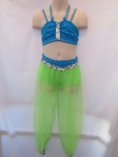 Lime Green Turquoise Blue Genie Costume Dance Small Child SC