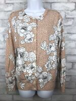 Lands End Supima Cotton Knit Cardigan Dark Tan With Floral Print Medium 10-12