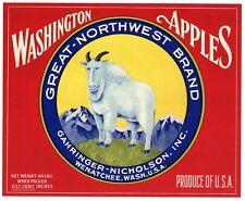 Great Northwest Vintage Wenatchee, Wa, Goat, *An Original Apple Label* red
