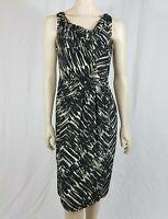 L K Bennett 100% Silk Black White Pleated Wiggle Pencil Dress Size UK 10