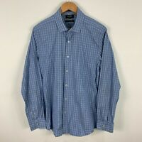 Oxford Mens Button Up Shirt Large Blue Plaid Long Sleeve Collared Slim Fit