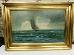 vintage old PAINTING oil sea scape signed