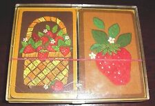 "Hallmark Vintage Bridge Playing Cards 2 Decks ""Strawberry Patch"" Plastic Case"