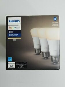 Philips Hue A19 3-Pack Soft White Smart Light Bulbs Dimmable LED App Control