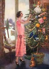 CHRISTMAS, WOMAN DECORATING A TREE, FRIDGE MAGNET