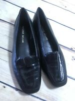 Antonio Melani Women Size 6M Black Leather Flats Loafer Shiny Comfort Dress Wear