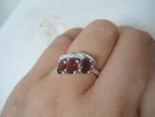 Natural GARNET & White Cubic Zirconia Stones 925 STERLING SILVER RING S7.25