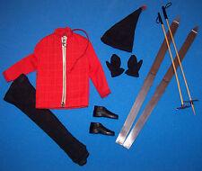 Vintage Ken Doll Ski Champion #798 Red Parka Black Gloves Hat Boots Skis 1963