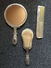 Victorian French Silver Tone Plated Vanity Set Includes Mirror, Brush And Comb