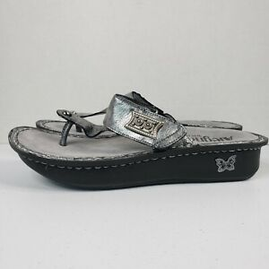 Alegria Womens Shoes 40 / 9.5-10 Carina Pewter Black Silver Tumble Thong Sandals