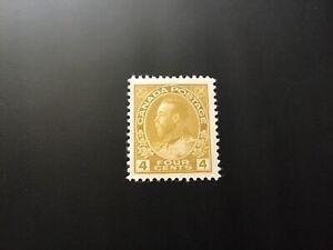 """JPS_Stamps! #110...""""King George V, 4¢ olive bistre"""" (mint, light hinge)"""