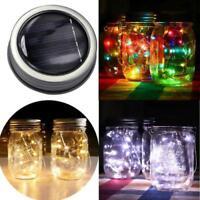 Solar Powered Mason Jar Lid Insert Light 10/20 LED Fairy String Garden Deco Lamp