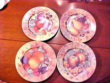 """Vintage Set of 4 Limoges France Veritable Porcelaine 7.5"""" Plates Fruit M589"""