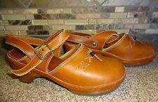 Vintage Womens Sz 9 (8.5) ASPEN FOOTWEAR Brown Leather Shoes Wood Heels Sandals