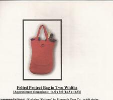 Designs by Shelley Knitting Felt Pattern Felted Project Bag in Two Widths / Tote