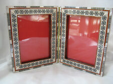 "Egyptian Inlaid Wood Picture Frame Mother Of Pearl Double Side 8"" X 4.75"" #250"