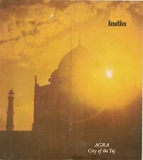 1975 Tourist Guide + Road Map AGRA India Taj Mahal Fatehpur Sikri Uttar Pradesh