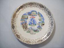 Vintage ILLINOIS Plate gold filigree trim