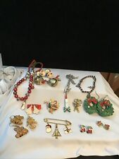 Fun 14 Pc. Lot Vintage- Now Christmas Holiday Jewelry Wear Or Ugly Sweater Art