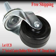 "Swivel Caster Wheel With Ball Bearings Lot of 20 New 2"" 3/8"" Thread Stem"
