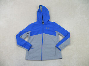 Under Armour Sweater Youth Large Blue Gray Hoodie Fleece Long Sleeve Boy Kid *