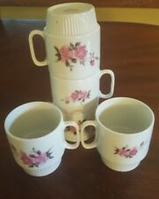Set of 5~Rose Design Stackable 8-Ounce Coffee Cups/Mugs Pink Floral RARE Vintage